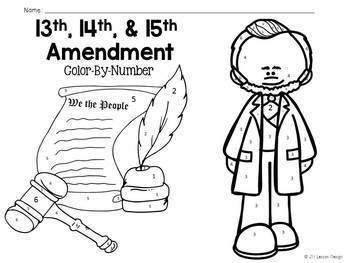 13th 14th and 15th Amendments: Color-By-Number