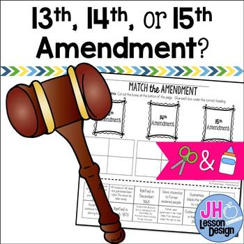 13th 14th and 15th Amendments: Cut and Paste Sorting Activity