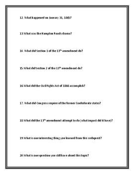 13th Amendment (Abolishing Slavery) Webquest With Answer Key!