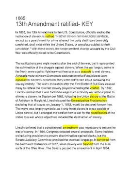 13th Amendment Ratified-- Cloze reading