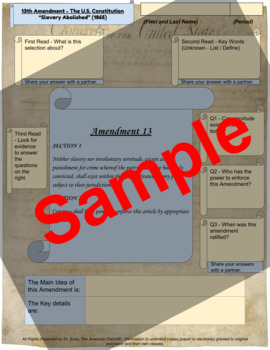 "13th Amendment - ""Slavery Abolished"" - Enhanced DBQ Close Read - (PDF)"
