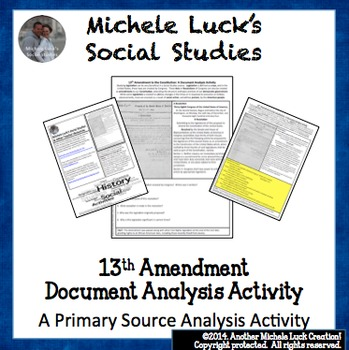 13th Amendment to Constitution Document Analysis Activity
