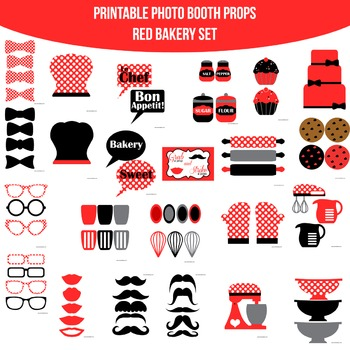 Bakery Red Black Printable Photo Booth Prop Set