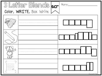 14 3 Letter Blends Color and Writing Worksheets. Kindergarten-1st Grade ELA.