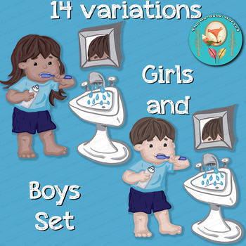 14 Bathroom Clip Art Pieces Kids Brushing Teeth Life Skills Clipart Png