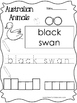14 Color, Read, Trace, and Box Write Australian Animals Worksheets. Preschool-KD