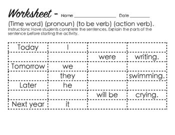 14 Common Verbs - Chart