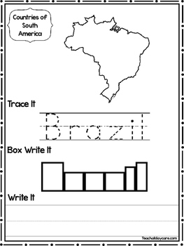 14 Countries of South America Worksheets Geography Curriculum.
