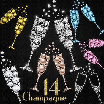 14 Diamond and Pearl Champagne Glass Clip Arts