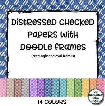 14 Distressed Checkered Papers with Doodle Frames