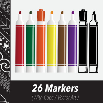 26 Markers (Vector Art) Various Colors & Line Art Variations