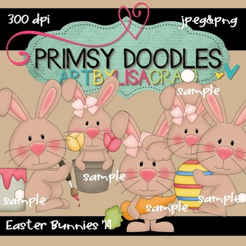 14-Easter Bunnies 300 dpi clipart
