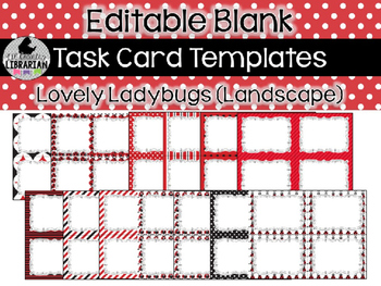 14 Editable Task Card Templates Lovely Ladybugs (Landscape) PowerPoint