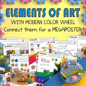 14 Elements of Art Posters with Modern Color Wheel - U.S.A. Edition - RYB/CMY