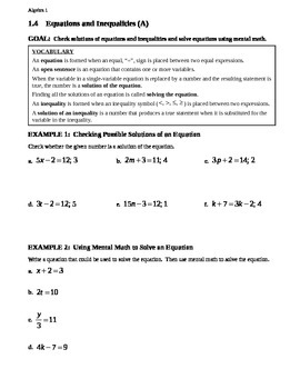 1.4 Equations and Inequalities (A)