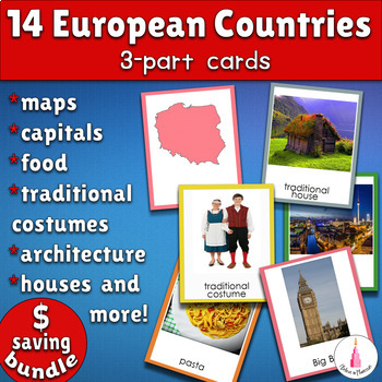 14 European Countries Montessori 3-part Cards Bundle