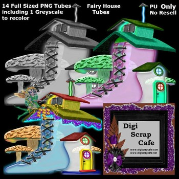 14 Fairy Houses transparent png tubes