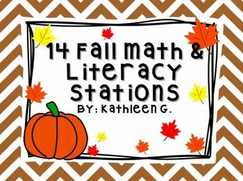 14 Fall Themed Math & Literacy Stations