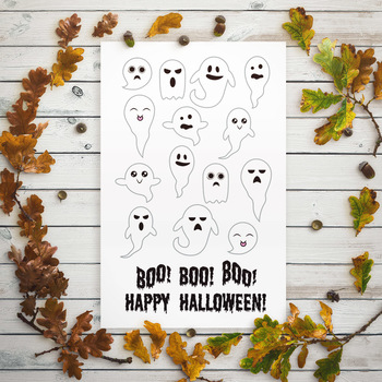 14 Ghosts Clipart, Halloween Clipart, Ghost SVG, Boo SVG Clipart, Fall Clipart
