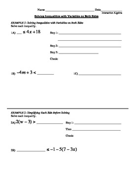 14) Guided Notes: Solving Inequalities w/Variables on Both Sides (accompany ppt)