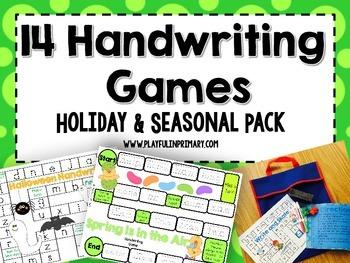 14 Handwriting Games: Holiday & Seasonal Pack
