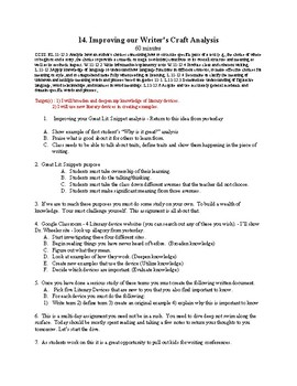 14. Improving our Writer's Craft Analysis