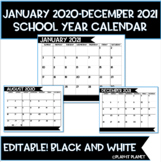 14 MONTH Calendar!  Black and White!  Editable! (July 2019-August 2020)