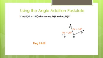 1.4 Measuring Angles (and Angle Addition Postulate) Lesson PowerPoint
