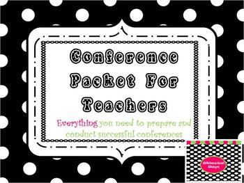 19 Page Conference Packet for Teachers  Premade Forms and Templates