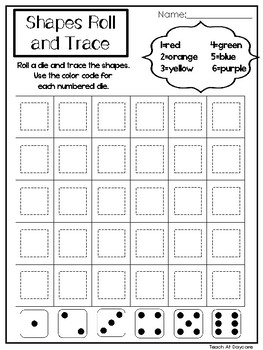 14 Printable 2-D Shapes Roll and Trace Worksheets. Preschool-KDG Math.