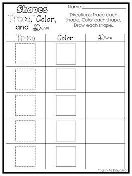 14 Printable 2-D Shapes Trace, Color, and Draw Worksheets. Preschool-KDG Math.
