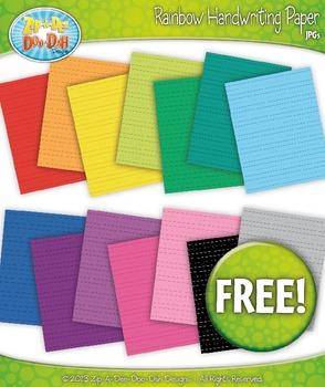 FREE 14 Rainbow Handwriting Paper Set 2 Clipart