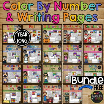16 SETS of COLORING and WRITING Pages, LOTS of HOLIDAYS Included