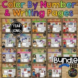 Color by Number & Writing Pages BUNDLE Holidays & Seasons YEAR LONG