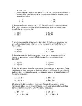14 STAAR-formatted Spanish Math Word Problems Third Grade
