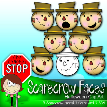14 Scarecrow Emoticon Smiley Faces Holiday Clipart {The Te