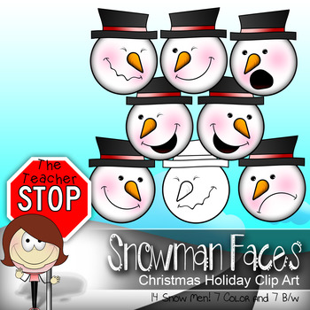 Snowman Faces -  14 Christmas Holiday Clipart Images{The Teacher Stop}