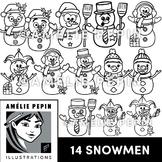 14 Snowmen Line Art
