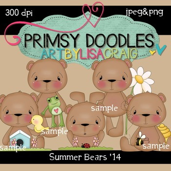 14-Summer Bears 300 dpi clipart