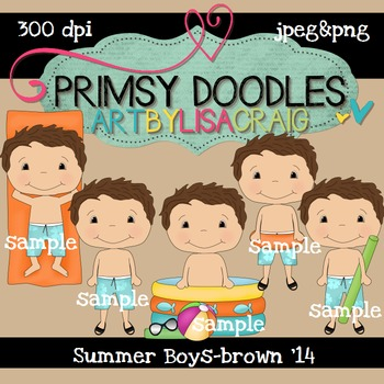 14-Summer Boys-Brown 300 dpi clipart