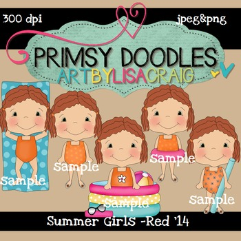 14-Summer Girls-Red 300 dpi clipart