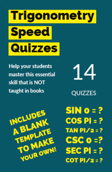14 Trig Speed Quizzes + Template