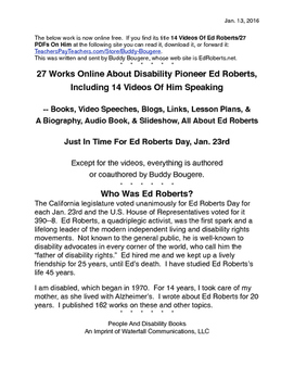 Over 20 Links And 15 Videos On Disability Pioneer Ed Roberts