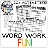 20+ Word Work, Spelling, Sight Word List Activities