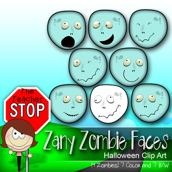 Zany Zombie Faces - 14 Spooky Fun Halloween Clipart Images {The Teacher Stop}