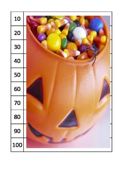 14 puzzles ESL skip counting pumpkins scarecrow Halloween center COMMON CORE