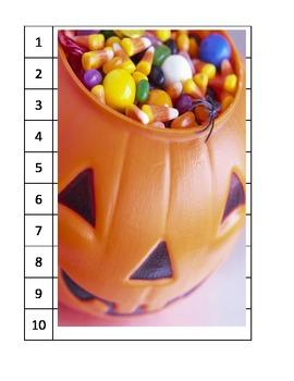 14 puzzles ESL skip counting pumpkins scarecrow Halloween