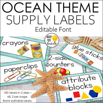 140 Classroom Supply Labels: Cool Blues and Greens/Ocean Theme Editable!