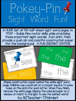 140 Pokey Pin SIGHT WORD Pages