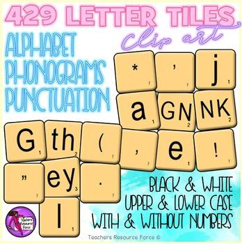 Phonics clip art: 429 Phonogram, Alphabet & Punctuation tiles